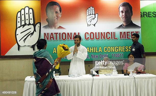 An Indian woman delegate welcomes Congress Party Vice President Rahul Gandhi during the National Council meeting with All India Mahila Congress...