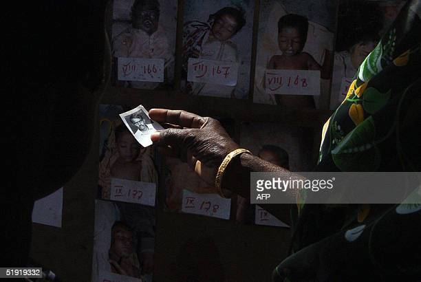 An Indian woman holds a picture of her missing husband while looking at pictures of victims from last week's tsunami searching for him at a centre...