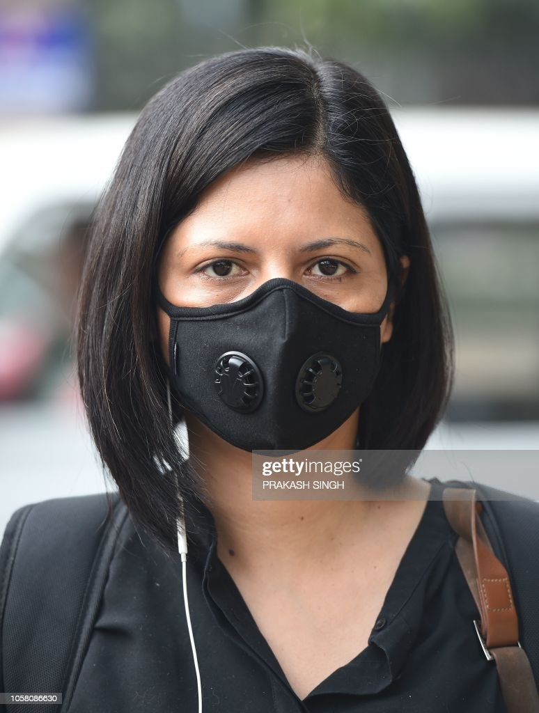 An To Protect Face Wears A Indian Air Against Mask Pollution Woman