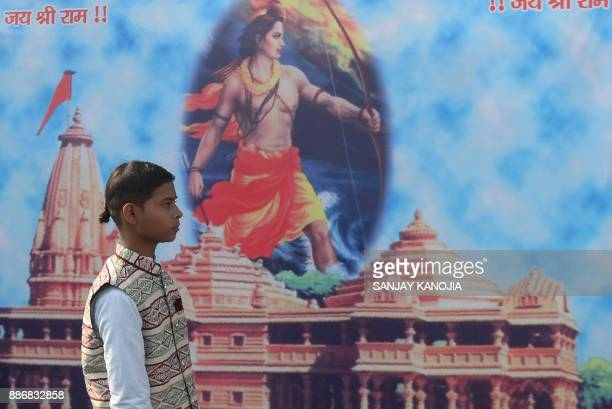 An Indian youth from the Veda Vidyalaya religious school takes part in a procession organised by the Vishwa Hindu Parishad Hindu nationalist group to...