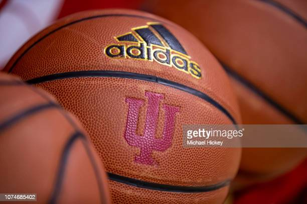 An Indiana Hoosiers basketball is seen before the game against the Central Arkansas Bears at Assembly Hall on December 19 2018 in Bloomington Indiana