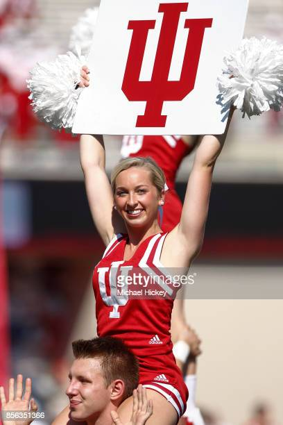 An Indiana Hoosiers cheerleader is seen before the game against the Georgia Southern Eagles at Memorial Stadium on September 23 2017 in Bloomington...