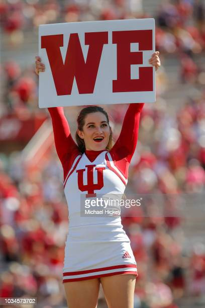 An Indiana Hoosiers cheerleader is seen during the game against the Ball State Cardinals at Memorial Stadium on September 15 2018 in Bloomington...
