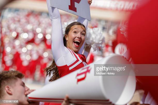 An Indiana Hoosiers cheerleader is seen during the game against the Michigan State Spartans at Indiana University on October 16, 2021 in Bloomington,...
