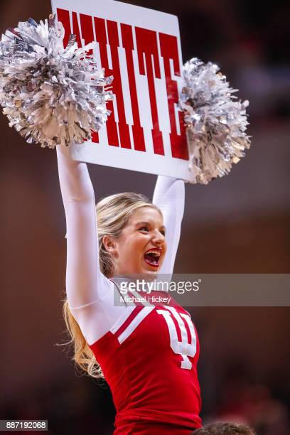 An Indiana Hoosiers cheerleader is seen during the game against the Duke Blue Devils at Assembly Hall on November 29 2017 in Bloomington Indiana