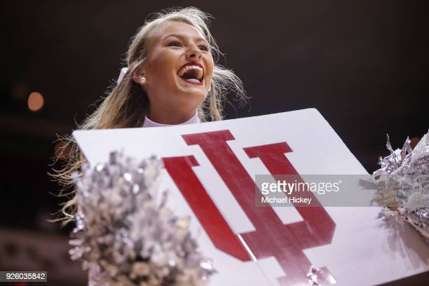 An Indiana Hoosiers cheerleader is seen during the game against the Ohio State Buckeyes at Simon Skjodt Assembly Hall on February 23 2018 in...