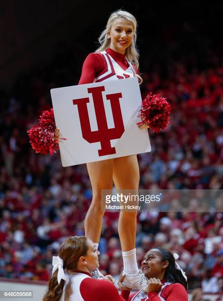 An Indiana Hoosiers cheerleader is seen during the game during the game against the Northwestern Wildcats at Assembly Hall on February 25 2017 in...