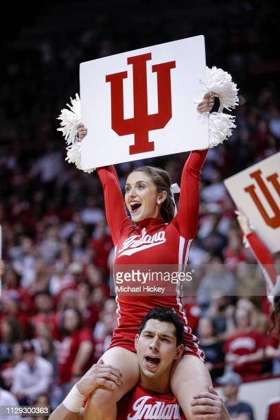 An Indiana Hoosiers cheerleader is seen during the game is seen during the game against the Wisconsin Badgers at Assembly Hall on February 26 2019 in...