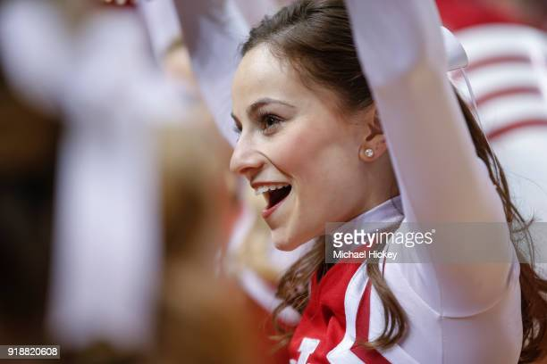 An Indiana Hoosiers cheerleader is seen during the game is seen during the game against the Purdue Boilermakers at Assembly Hall on January 28 2018...