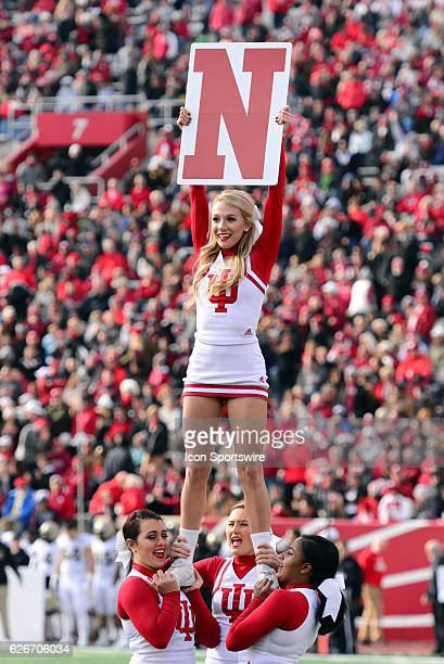 An Indiana Hoosiers cheerleader performs during a break in the Big Ten Conference game between the Purdue Boilermakers and the Indiana Hoosiers on...