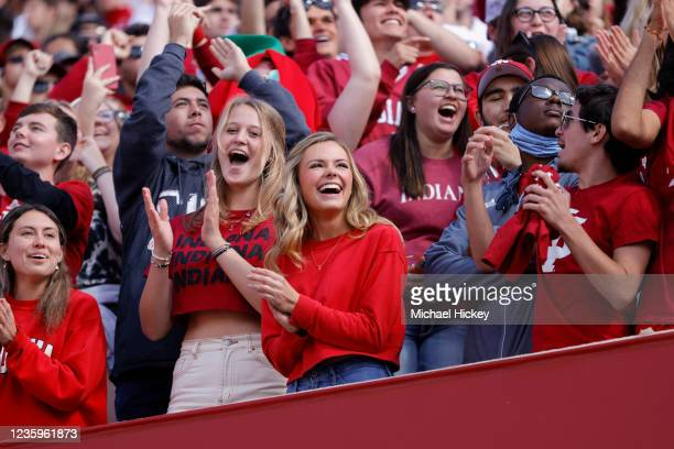 An Indiana Hoosiers fan is seen during the game against the Indiana Hoosiers at Indiana University on October 16, 2021 in Bloomington, Indiana.