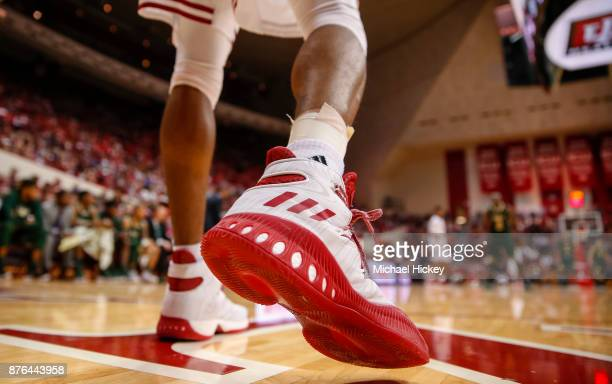 An Indiana Hoosiers player's Adidas shoe is seen as he inbounds the ball against the South Florida Bulls at Assembly Hall on November 19 2017 in...
