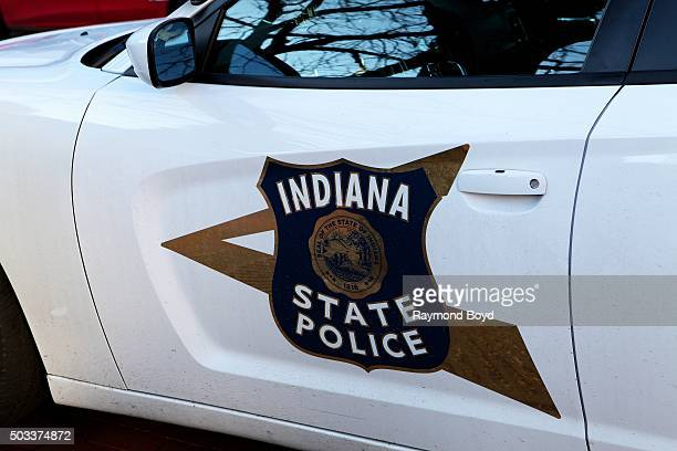 An Indiana State Police Car sits in Monument Square in downtown Indianapolis on December 22, 2015 in Indianapolis, Indiana.