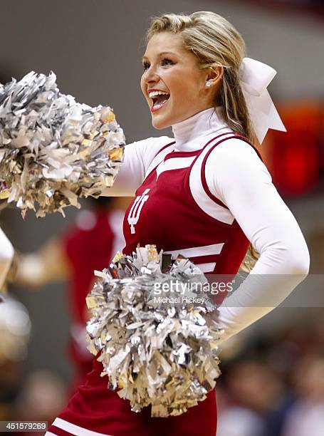 An Indiana University cheerleader performs during the game against the Samford Bulldogs at Assembly Hall on November 15 2013 in Bloomington Indiana...