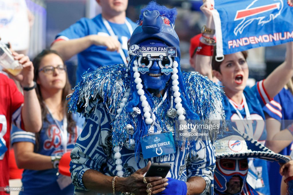 An Indianapolis Colts fan dresses up for the second round of the NFL