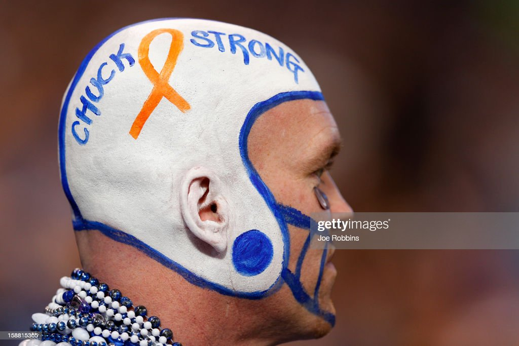 An Indianapolis Colts fan shows his support for head coach Chuck Pagano during the game against the Houston Texans at Lucas Oil Stadium on December 30, 2012 in Indianapolis, Indiana. Pagano has been sidelined on medical leave for three months with leukemia.