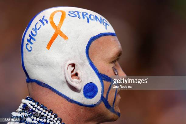An Indianapolis Colts fan shows his support for head coach Chuck Pagano during the game against the Houston Texans at Lucas Oil Stadium on December...