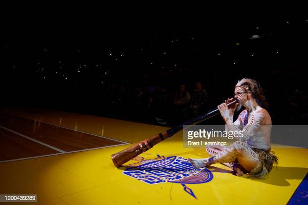 An Indigenous ceremony is performed during the round 16 NBL match between the Sydney Kings and the South East Melbourne Phoenix at Qudos Bank Arena...