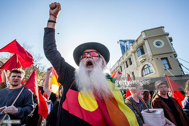 An Indigenous man leads a chant during a rally for marriage equality at Sydney Town Hall on August 9 2015 in Sydney Australia They are specifically...