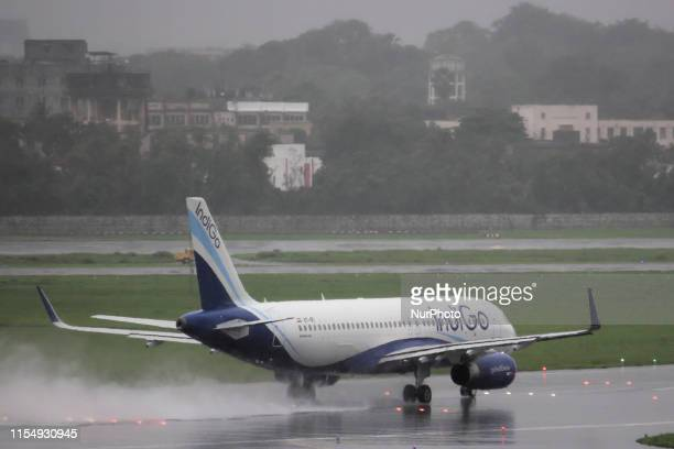 An IndiGo aircraft prepares to take off at airport in Mumbai India on 10 July 2019 Shares of Indias largest airline crashed around 19 per cent on NSE...