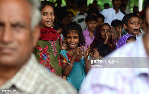 An Indiian suporter reacts during Bihar's Chief Minister Nitish Kumar's speech during the divisional political summit of JD in Phoolpur30 kms from...