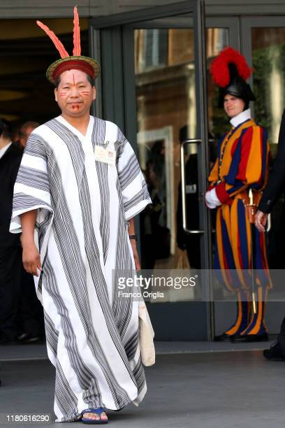 An Indios from Amazonia leaves the Paul VI Hall a the end of a session of the Synod For Amazon on October 12, 2019 in Vatican City, Vatican.