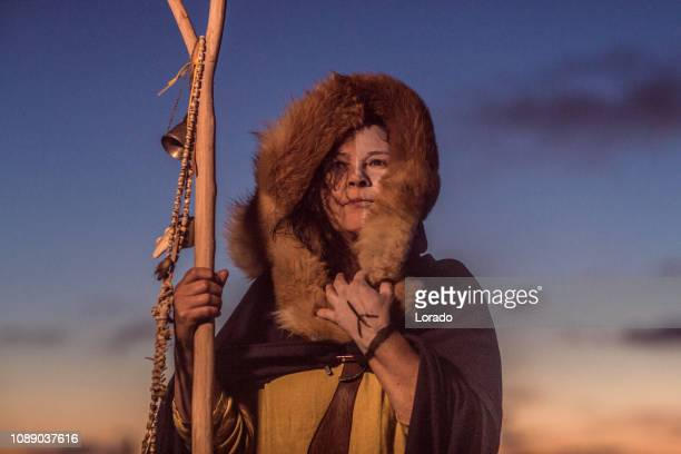 un guerrier de viking féminin individuel - viking photos et images de collection