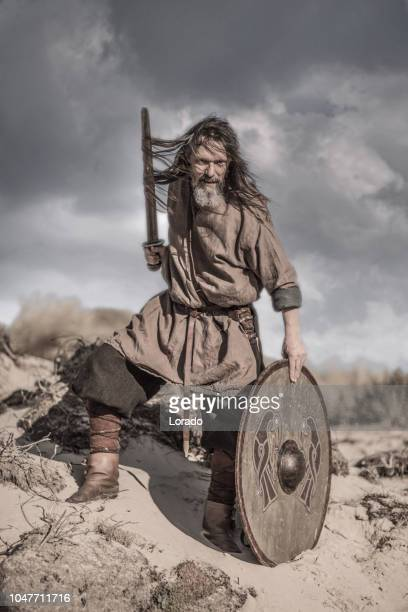 an individual viking warrior in action on a sandy battlefield dune - barbarian stock photos and pictures