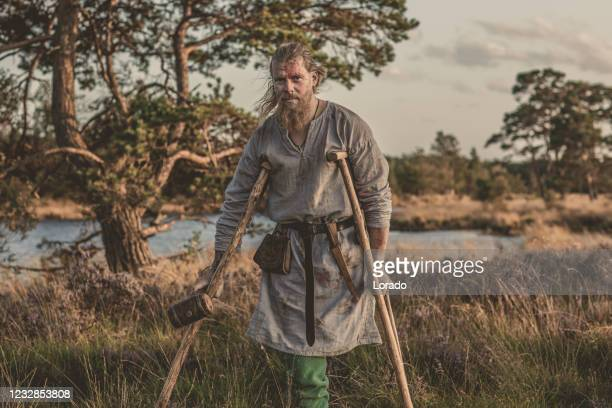 an individual viking warrior outdoors - historical clothing stock pictures, royalty-free photos & images