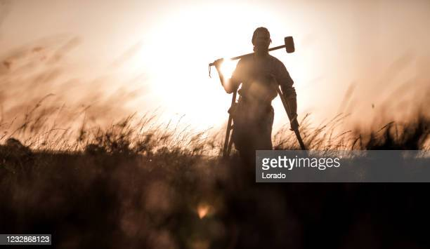 an individual viking warrior outdoors - armory stock pictures, royalty-free photos & images