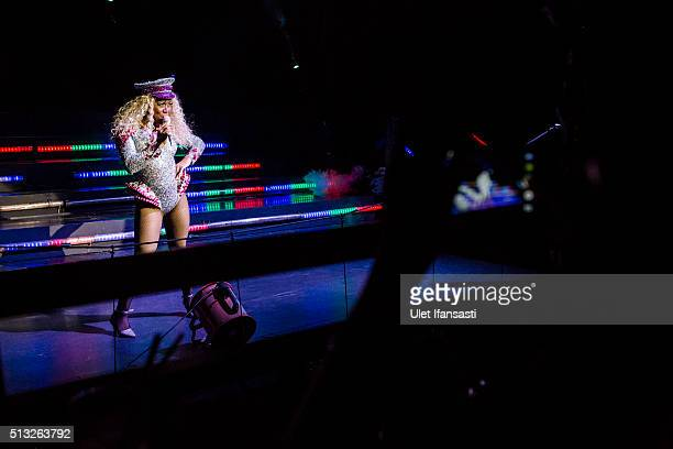 An Indonesian drag queen performs in a cabaret show on February 26 2016 in Yogyakarta Indonesia In recent weeks Indonesia ministers and religious...