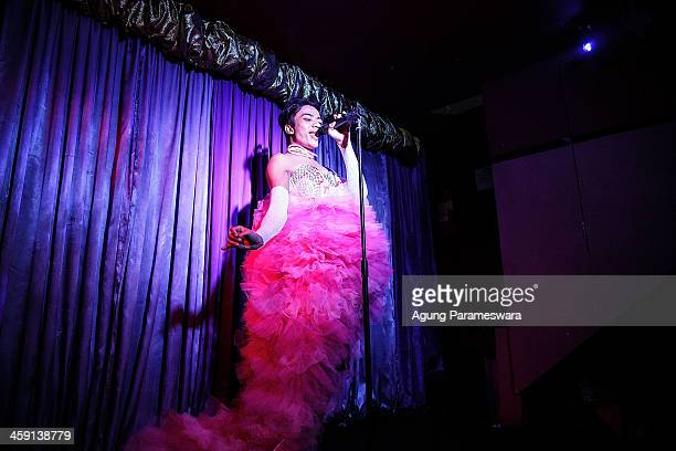 An Indonesian drag queen Renata practices for a special performance on the 5th anniversary celebrations of Bali Joe Bar one of the most famous gay...