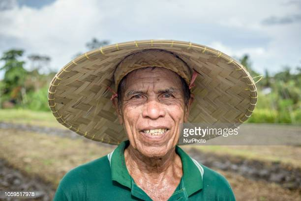 An Indonesian farmer plows a rice paddy field near North Kuta Bali Indonesia on November 9 2018