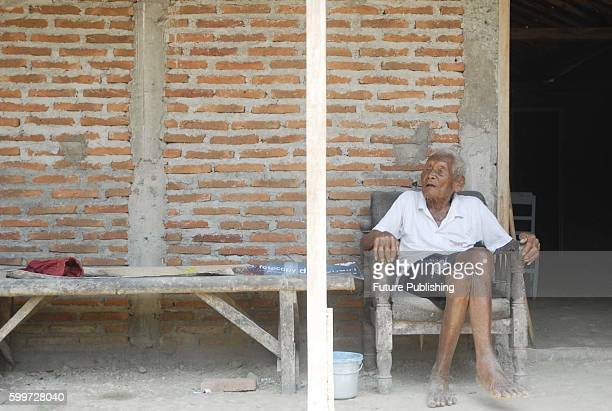 An Indonesian man named Mbah Gotho claimed to be 146 years old is the oldest human in world's history speaks to press members at his family house in...