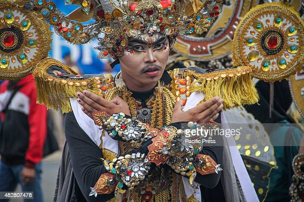 TANGERANG BANTEN INDONESIA An Indonesian model showcases a design on the catwalk during Jember Fashion Carnival This years' theme of the Jember...