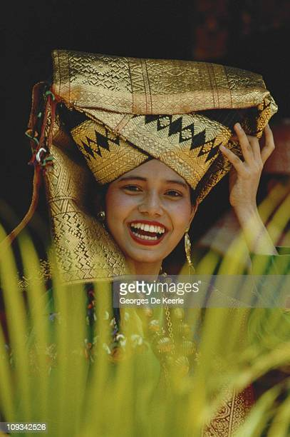 An Indonesian woman in traditional headgear Indonesia 5th November 1989