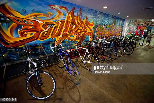 An indoor bike rack greets guests at the entrance of Brooklyn Boulders on Tuesday afternoon, August 19, 2014 in Somerville, Mass.