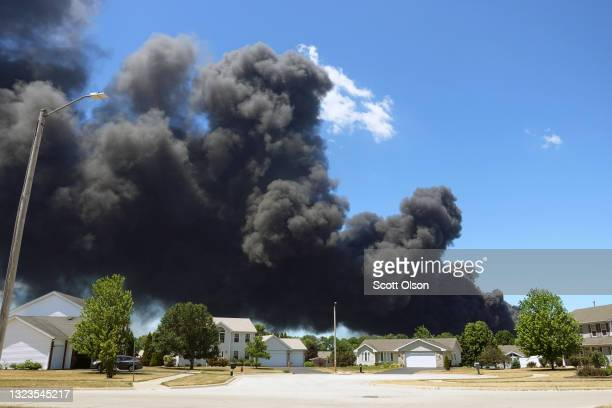 An industrial fire burns at Chemtool Inc. On June 14, 2021 in Rockton, Illinois. The chemical fire at the plant, which produces lubricants, grease...
