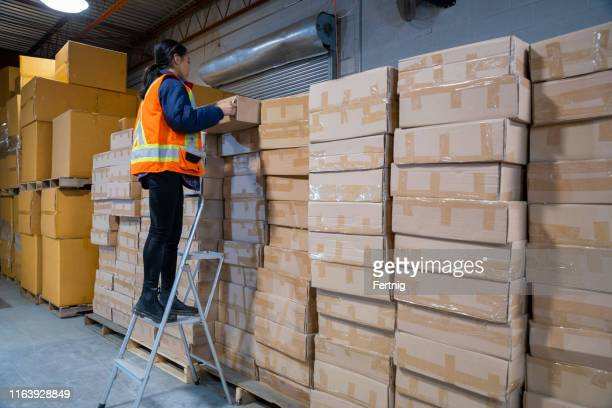 an industrial warehouse workplace safety topic. a female employee uses a short step ladder to reach some higher placed merchandise. - step ladder stock pictures, royalty-free photos & images
