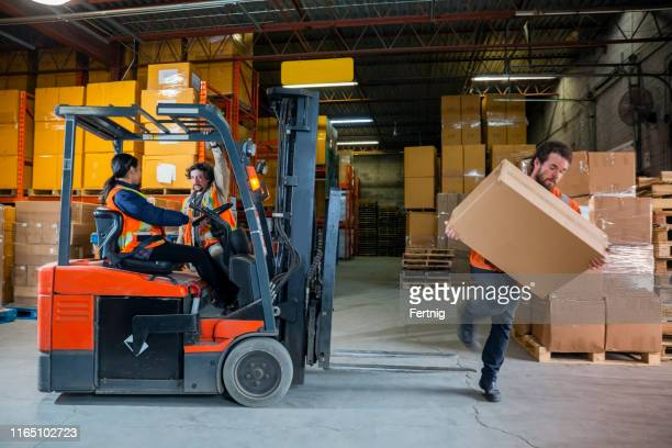 an industrial warehouse workplace safety topic.  a maleemployee injured by tripping over forklift forks. - acidentes de trabalho imagens e fotografias de stock