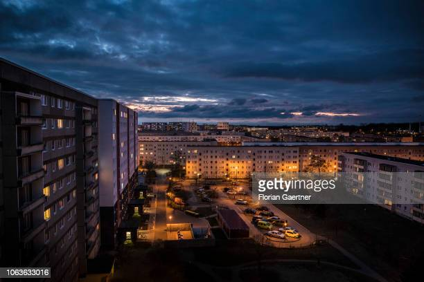 An industrialized apartment block is pictured suring blue hour on November 19 2018 in Stendal Germany