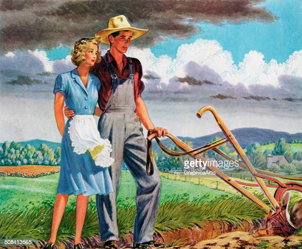 An industrious and independent farming couple stand with a plow in the fields of their heartland farm 1943 Screen print