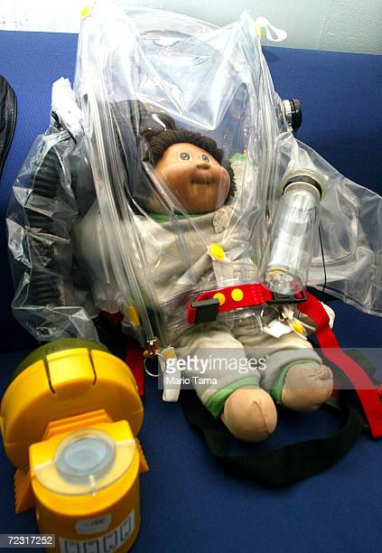 An infant respirator is on sale in the Counter Spy Shop February 22, 2002 in New York City. The store has nearly doubled its sales since September...