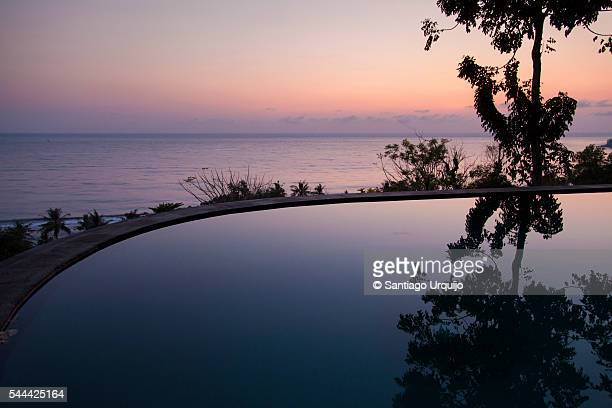An infinity edge pool at twilight