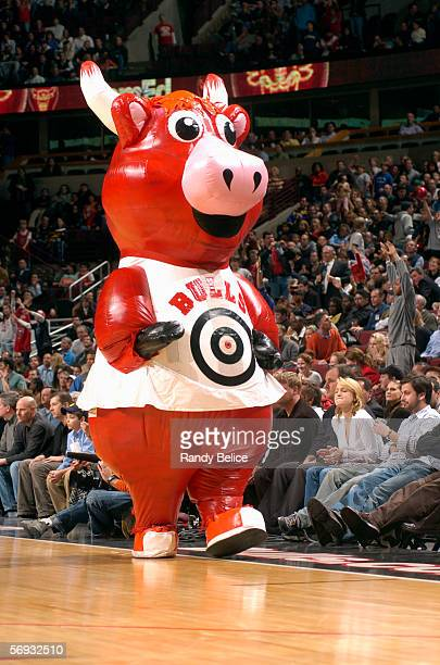 An inflatable Benny the Bull mascot of the Chicago Bulls entertains the fans during a game between the Washington Wizards and the Chicago Bulls at...