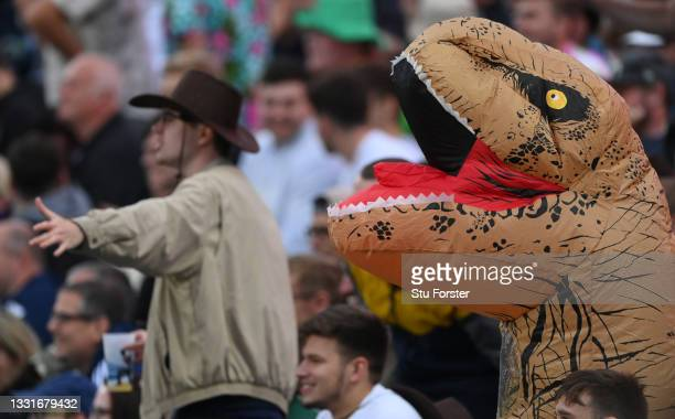 An inflatable Dinosaur in the Western Terrace is pictured during The Hundred match between Northern Superchargers Men and Oval Invincibles Men at...
