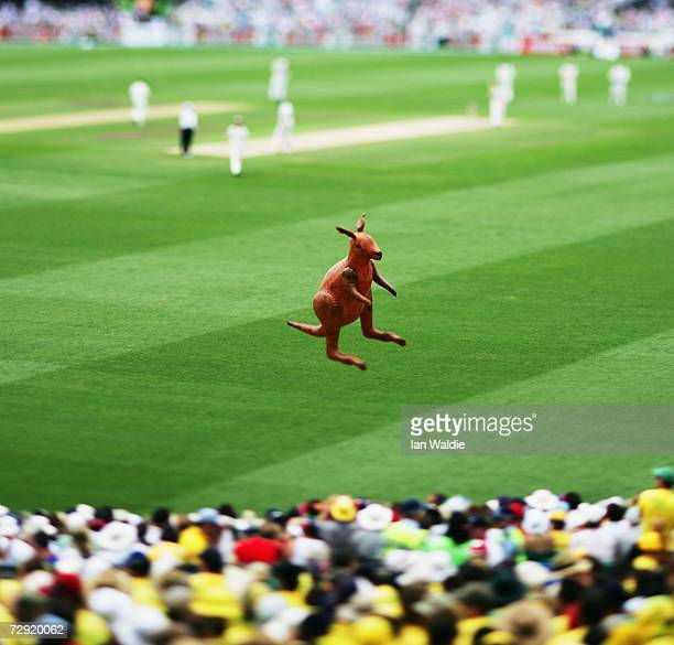 An inflatable kangaroo rises above the crowd during the fifth Ashes test at the Sydney Cricket Ground on January 2 2007 in Sydney Australia The Ashes...