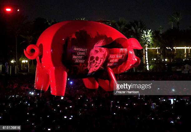 An inflatable pig floats over the crowd at Roger Waters' performance during Desert Trip at the Empire Polo Field on October 16, 2016 in Indio,...