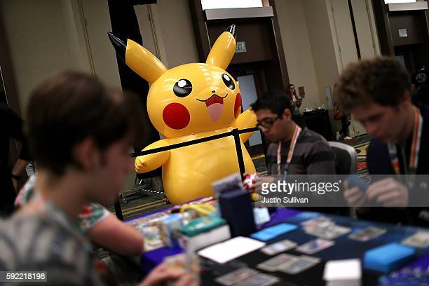An inflatable Pokemon is displayed during the 2016 Pokemon World Championships on August 19 2016 in San Francisco California Over 1600 contestants...