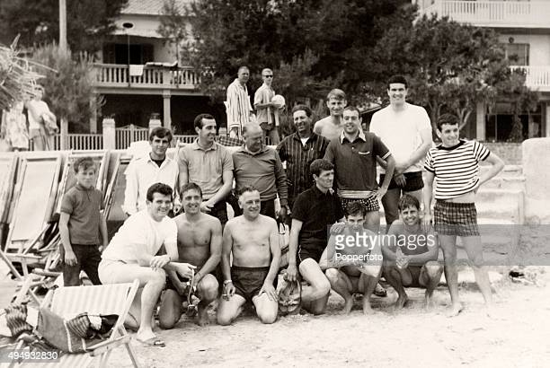 An informal Liverpool team photograph taken during a Club holiday in Europe circa 1968 Players include Ron Yeats Ian Callaghan Geoff Strong Ian St...